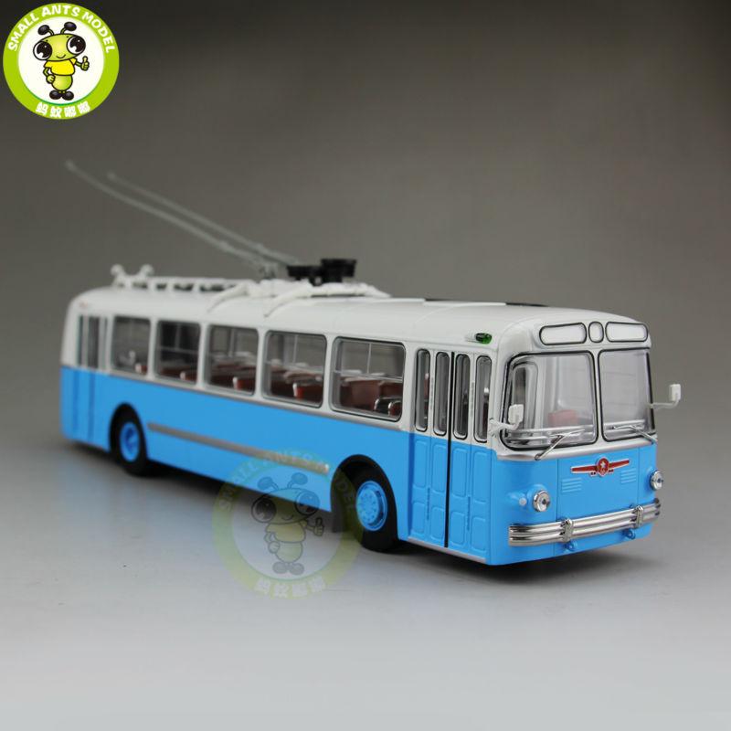 1/43 ZIU-5 ZIU 5 Russian Soviet Trolleybus Bus Classic 04006B Diecast Model Blue 1 38 china gold dragon bus models xml6122 diecast bus model gold