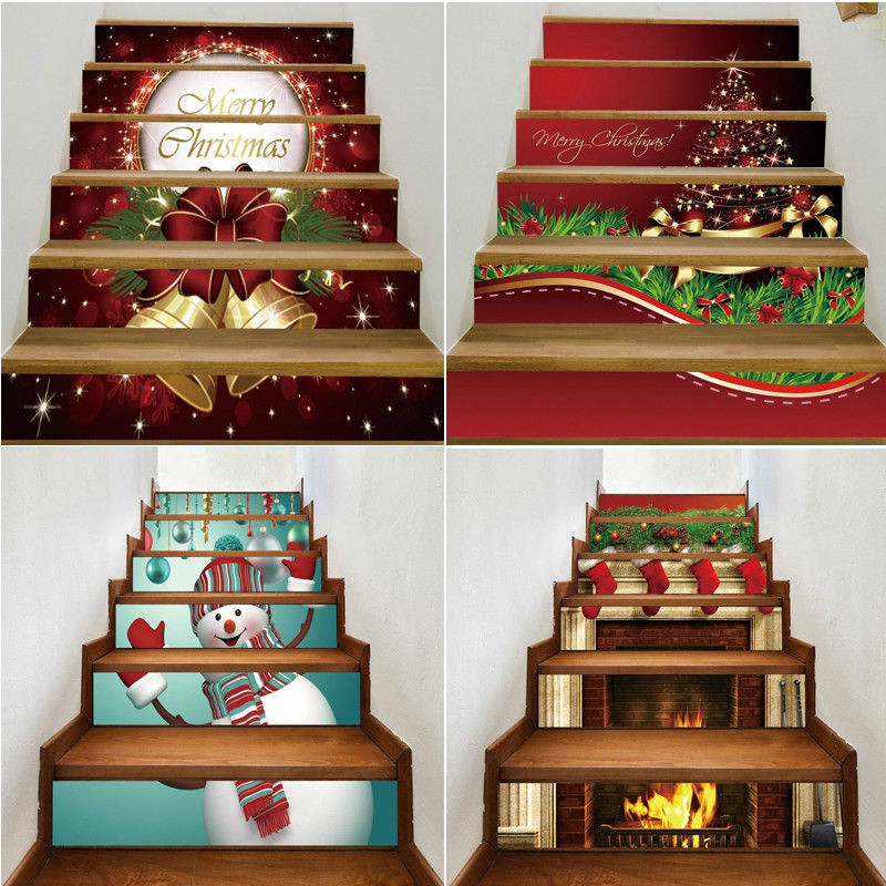 3D Vision Christmas Stairway Stickers Christmas Home Decor <font><b>Wall</b></font> Stickers Stair Decal Stairway Stickers Family Stair Riser Decor