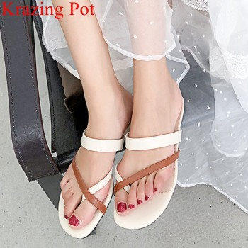 2018 superstar big size cow leather square heel sandals elegant Flip Flops low heels peep toe slingback concise mules shoes L5f2 big toe sandal