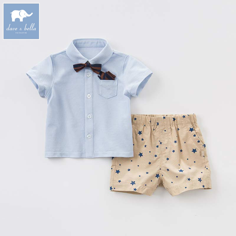 Dave bella little gentleman summer baby boy shirt+shorts suit kids clothes with ties children boutique clothing sets DB8280 handsome boy and summer gentleman shirt strap 2 suit factory direct