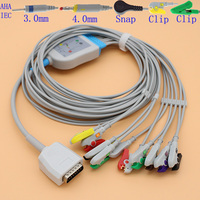 DB15 pins ECG EKG 10 leads cable and electrode leadwire for ShangHai Kohden ECG 6511 and ZhongLian JianYi XD 106 monitor,