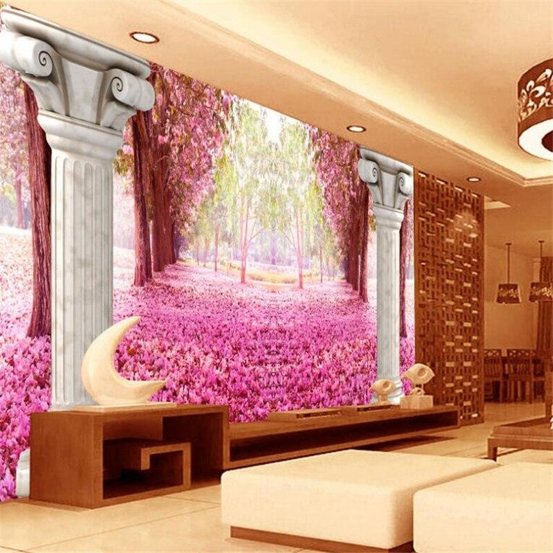 Beibehang Beautiful atmosphere creative 3D romantic cherry blossom ...