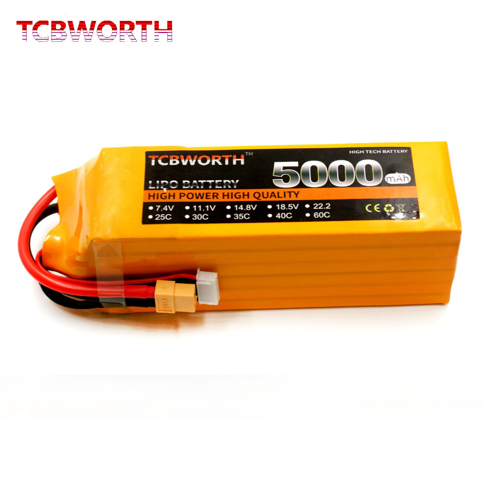 RC LiPo Battery 4S 14.8V 5000mAh 25C for RC Airplane Drone Helicopter Quadrotor tcbworth 2s 7 4v 5000mah 25c rc lipo battery for rc airplane quadrotor