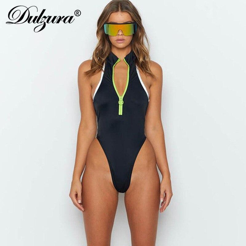 Dulzura 2019 été femmes body sexy patchwork festival streetwear vêtements une pièce barboteuses corps fermeture à glissière dos nu sans manches