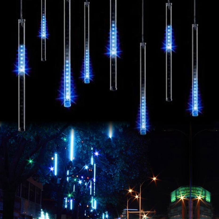 New Year LED Christmas Lights LED Meteor Shower Rain 20CM 30CM 50cm 8Tube/set Wedding Garden Decoration String Light 110V/220V