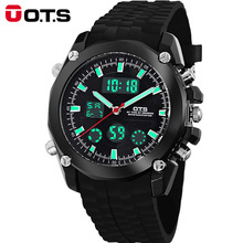 Erkek kol saati Mens watches top brand luxury OTS Sports Watches Auto Date Day LED Alarm Black Rubber Band Analog Quartz
