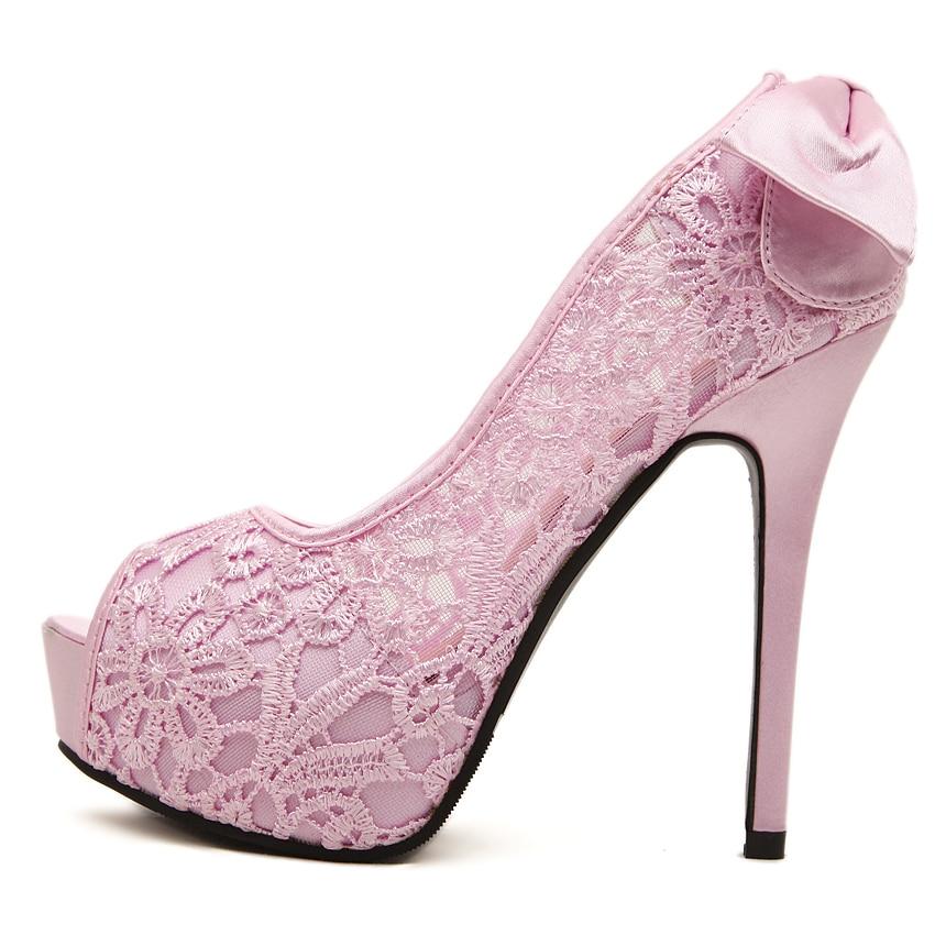 Dulce pink 2015 Zapatos Arco Boda Bombas Novia Apricot Tacones Encaje Plataforma Verano Mujeres Toe Altos Las Vestido Peep Mujer De Sexy aBqwaRFS