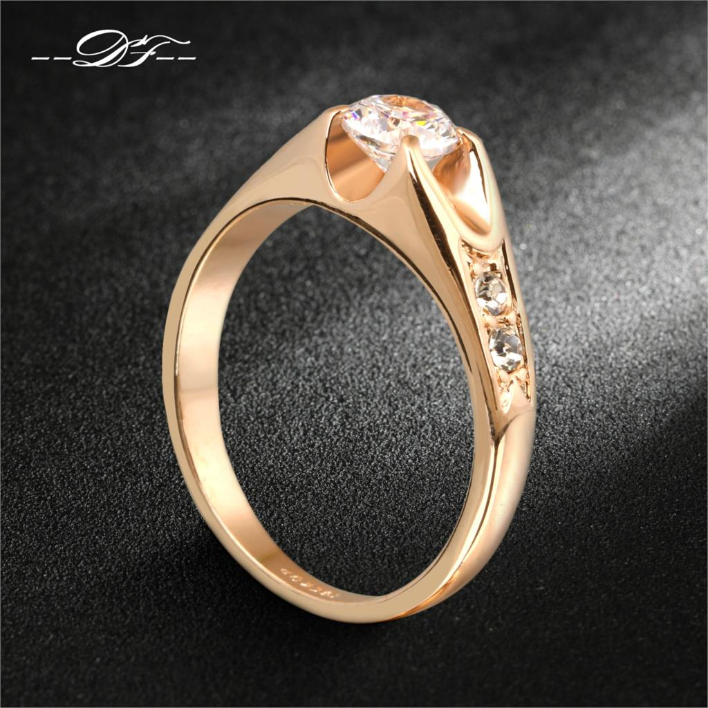 Cubic Zirconia Wedding RingRose Gold/Silver Tone CZ Stone Engagement Rings Jewelry Men Women DFR249 - DOUBLE FAIR Official Store store