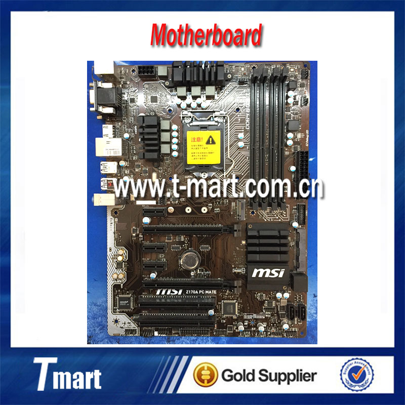 100% Working Desktop Motherboard MSI Z170A PC MATE System Board Fully Tested