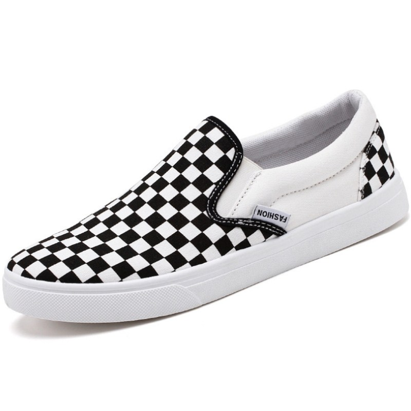 Flat Shoes Men's Summer Hot Sale Canvas Shoes Fashion Wild Black And White Plaid Breathable Popular 2019 New Casual Men's Shoes