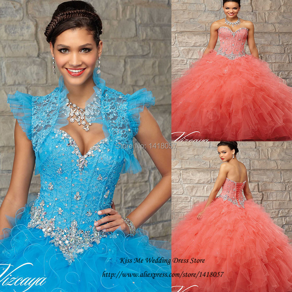 Blue Orange Organza Masquerade Quinceanera Dresses Ball Gowns Lace Crystals Dress for 15 Years with Jacket