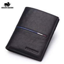 BISON DENIM Brand men Wallets genuine leather Business Classic short Cards Holder wallet Casual Purse