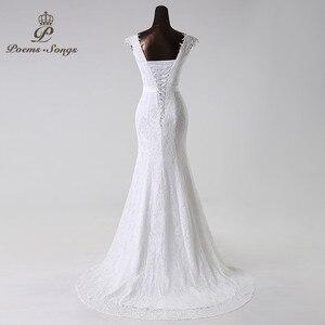 Image 5 - Poemssongs beautiful lace flowers  mermaid Wedding Dress 2020 vestidos de noiva robe de mariage bridal dress  Free shipping