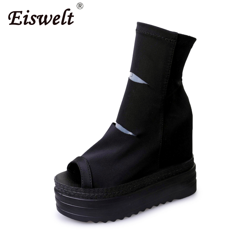EISWELT Short Boots Women Fashion Summer Stretch Solid Platform Cake Hole Shoes Wild Peep Toe Bottom Women Roman Shoes
