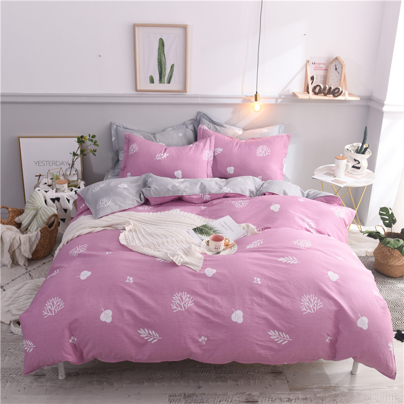 Hot sell 4pc pink gray Bedding Set Fashion Clover Leaf Printed Super Soft 100%cotton Duvet Cover Bed Sheet Pillowcase BedclothesHot sell 4pc pink gray Bedding Set Fashion Clover Leaf Printed Super Soft 100%cotton Duvet Cover Bed Sheet Pillowcase Bedclothes