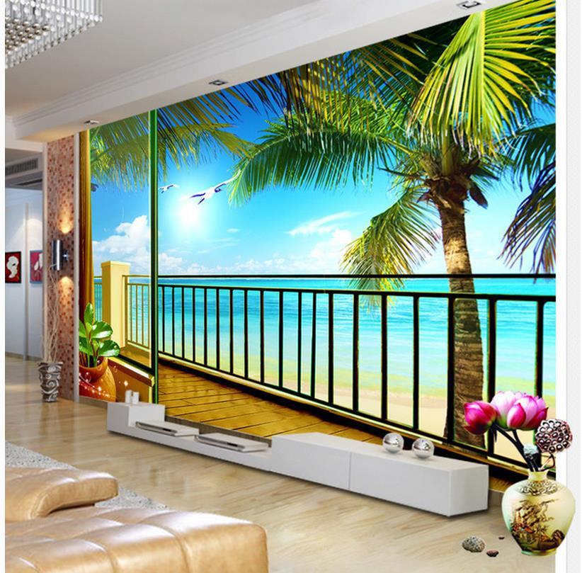 Free shipping modern wall 3d murals wallpaper hd balcony for Balcony wallpaper