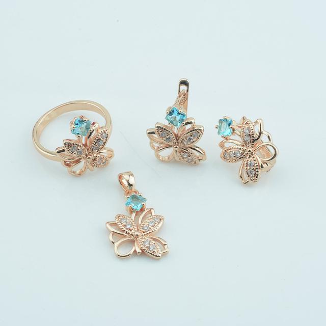 Blue Stone Butterfly Jewelry Set Earring Ring Pendant