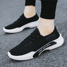 Mens Shoes Black Casual 2019 Spring New Fashion Men Running Breathable Flying Weaving Mesh Lace Up Man