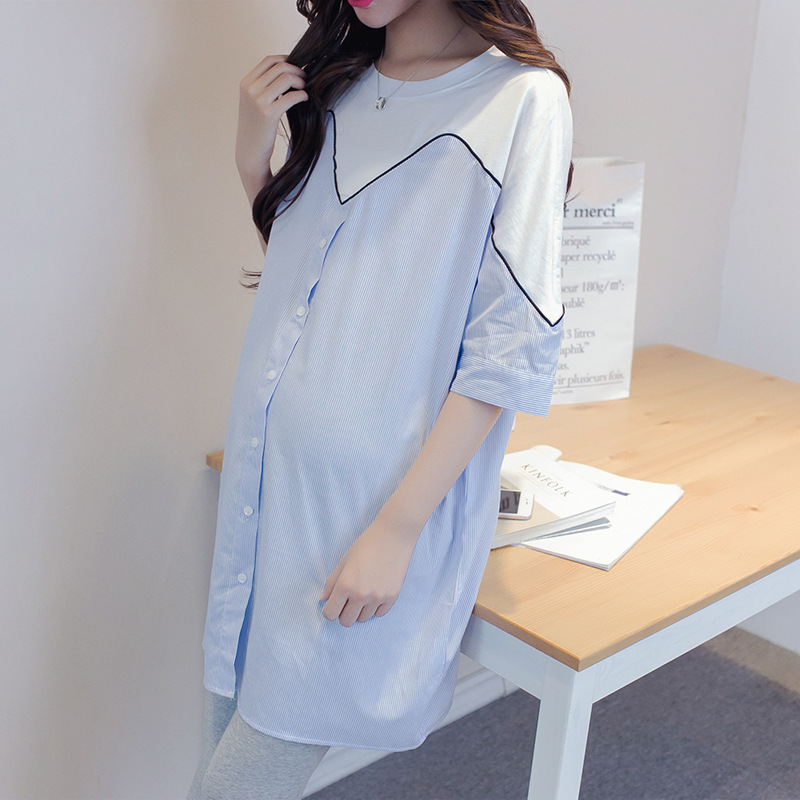 Summer Short Sleeve Shirt Dress For Pregnant Women Tshirt Dress Casual Dresses Women Striped Patchwork Pregnant Clothing Y748