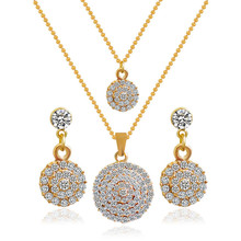 Luxury Women Bridal Wedding Jewelry Sets Gold Color Crystal Circular Pendant Necklaces Earrings Mothers Day Gifts 3 pcs/Set