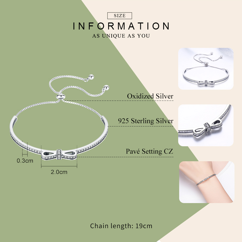 Image 4 - WOSTU New Arrival 925 Sterling Silver Sparkling Bowknot Chain Adjustable Bracelet Bangle For Women S925 Jewelry Gift CQB108Chain & Link Bracelets   -