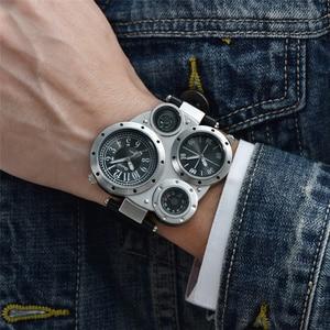 Image 2 - Oulm Unique Sports Mens Watches Top Brand Luxury 2 Time Zone Quartz Watch Decorative Compass Male Wrist Watch