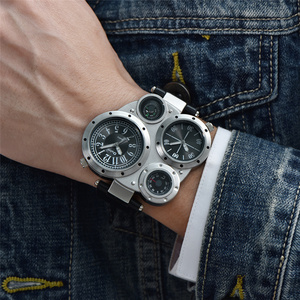 Image 2 - Oulm unikalne sportowe męskie zegarki Top marka luksusowe 2 strefa czasowa zegarek kwarcowy dekoracyjny kompas męski zegarek na rękę