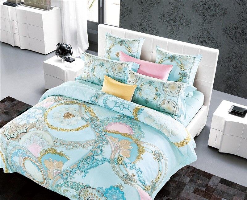 New Bedding Set Soft 80S tencel Bed Sheets boho Duvet Cover Flat Bedspread Sets Home Textile Juegos de Sabanas