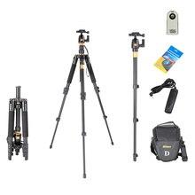 Tripod Kit Q555 Pro Portable Magnesium Aluminum Digital Camera Tripod Monopod With Ball Head for DSLR