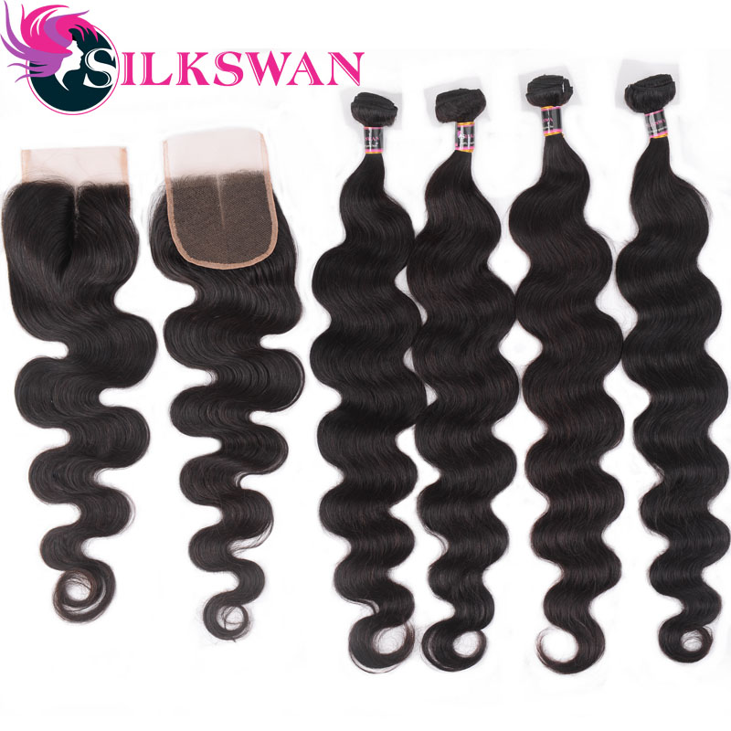 Silkswan Hair  Brazilian Hair Body Wave 100% Remy Human Hair 3 Bundles With 4*4 Lace Closure 4 Pcs/Lot 8 24 Inch  Free Shipping-in 3/4 Bundles with Closure from Hair Extensions & Wigs    1