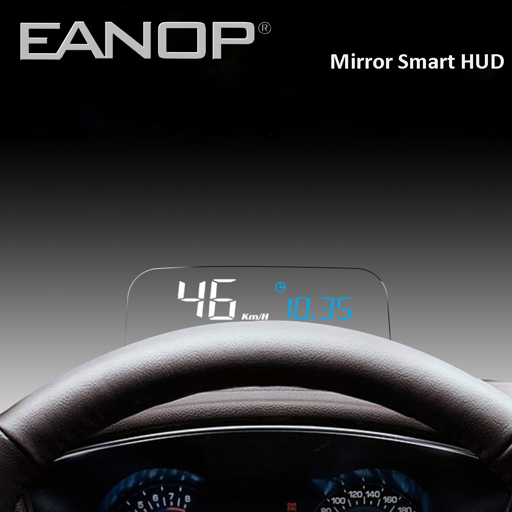 EANOP HUD Mirror Head up display OBD2 meter Car Computer Speedometer with KMH KPM oil consumption