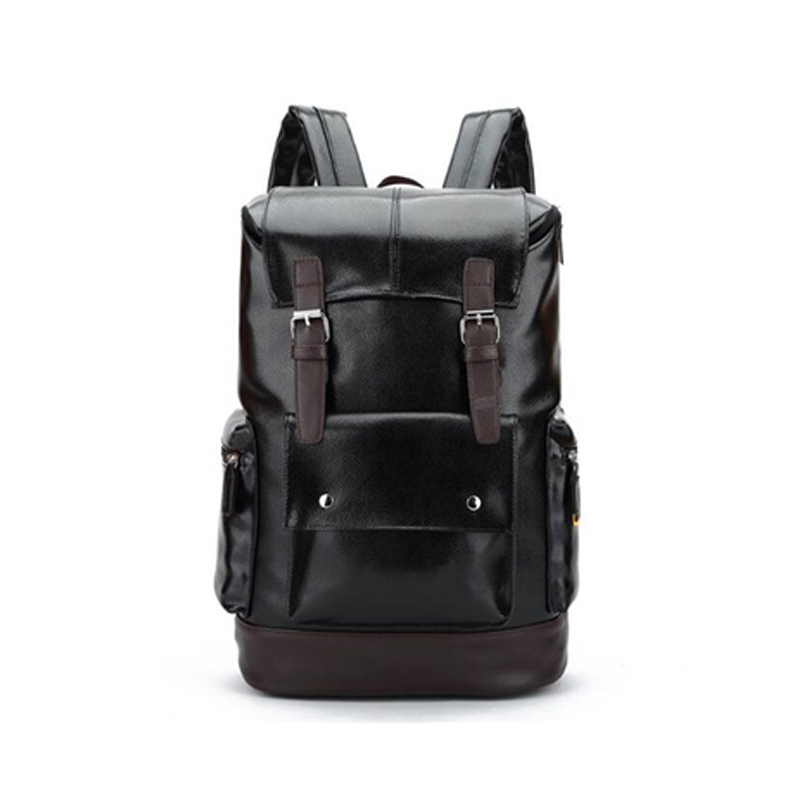 Wcs-leather Casual Backpack College Backpack Men's Vintage Leather Backpack Camping Hiking Travel Shoulder Bag