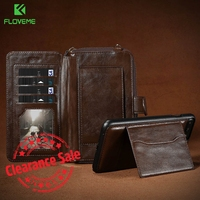 FLOVEME Multifunction Universal Phone Wallet Case For IPhone 6 7 Card Slot Messenger Bag Long Rope