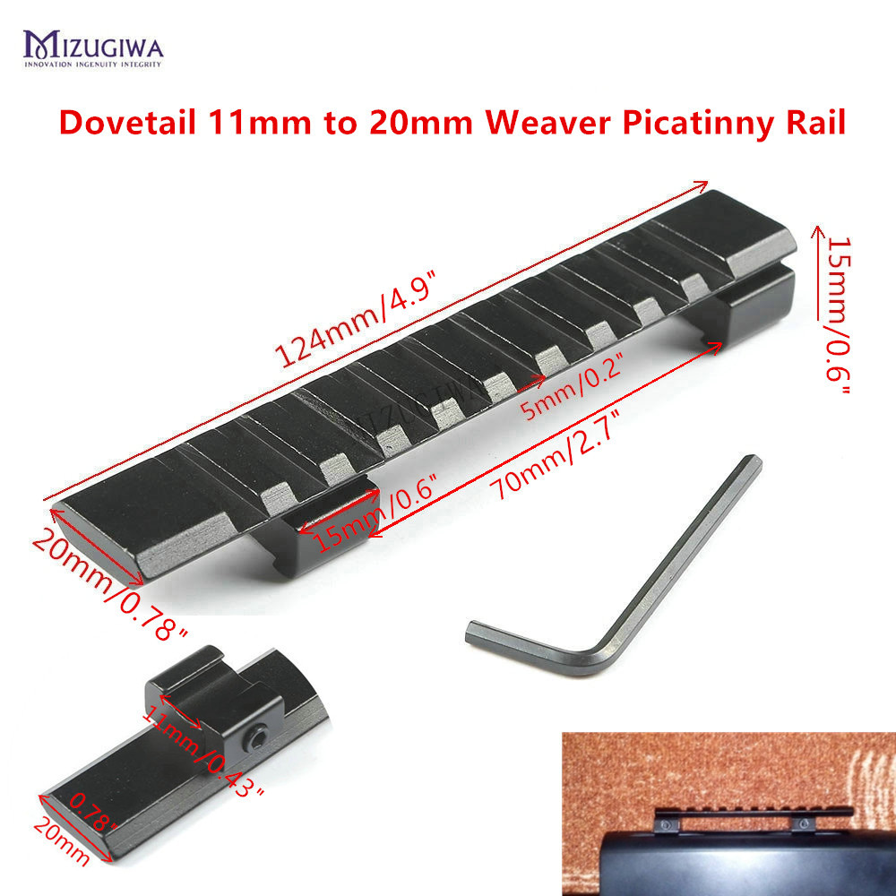 MIZUGIWA Scope Mount Dovetail 11mm To 20mm Weaver Picatinny Rail Adapter Extend Mount 10 Slots 124mm Pistol Airgun  Rifle