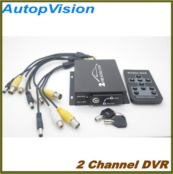 2ch video input Car 2 Channel DVR 2ch car dvr kit including 1pcs 2ch car dvr 2 car cameras 2 video cables diy installation dvr kit