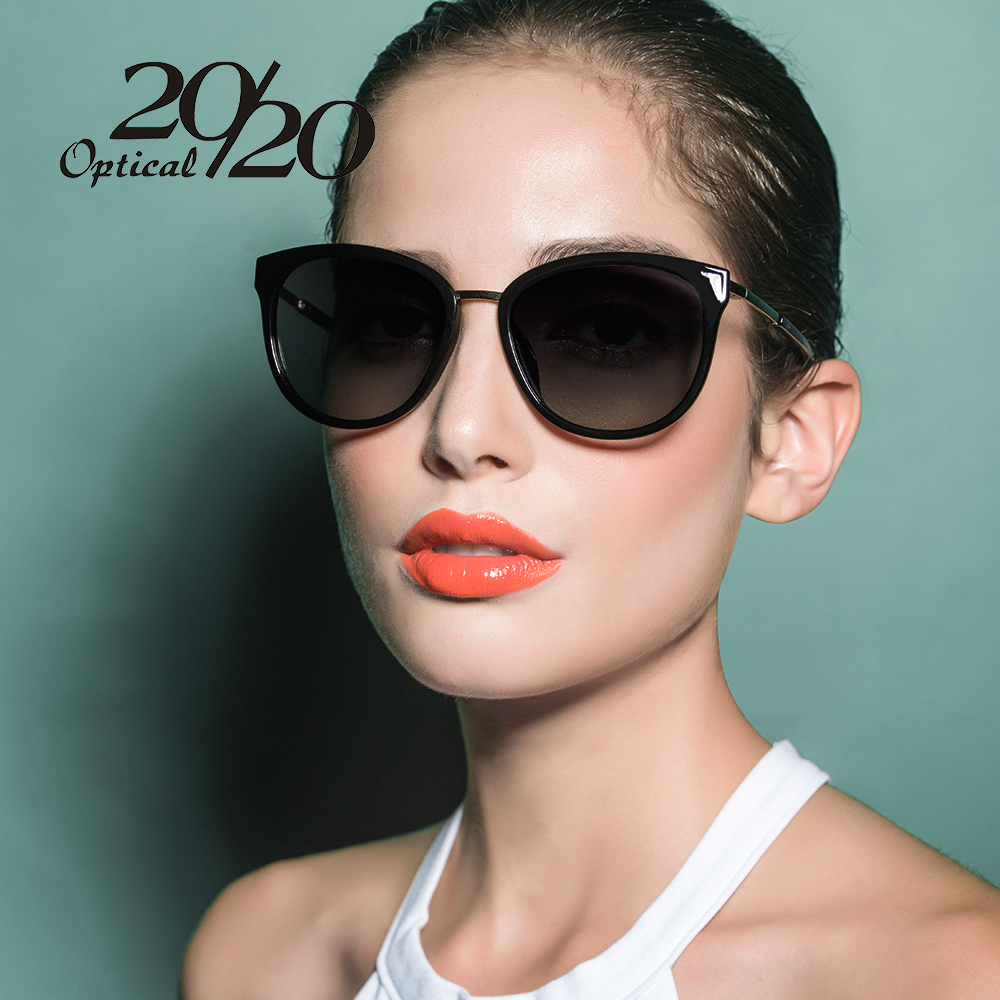 20/20 Polarized sunglasses women Retro Style Metal Frame Sun Glasses Lady Famous Brand Designer Oculos Feminino 7051
