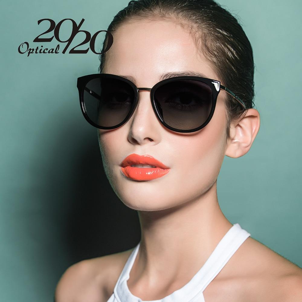 20/20 polarisierte sonnenbrille frauen Retro Style Metallrahmen Sonnenbrille Lady Berühmte Designer Oculos Feminino 7051