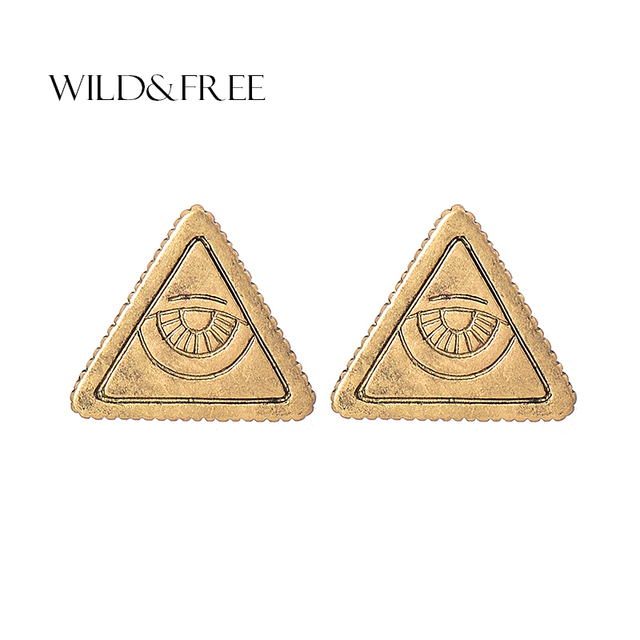 Wild Free Simple Brincos Gold Silver Geometric Triangle Stud Earrings Bohemian Alloy Texture Round Triangular For