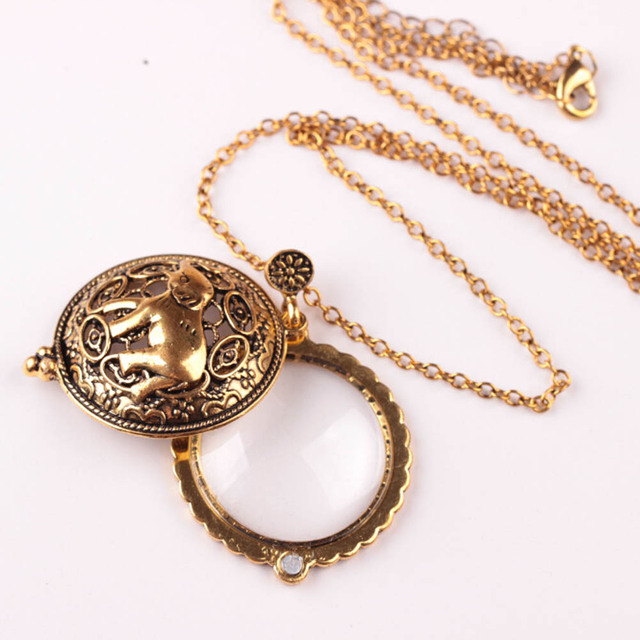 New antique european style bronze plated elephant plated magnifying new antique european style bronze plated elephant plated magnifying glass pendant necklaces jewelry for women mozeypictures Image collections