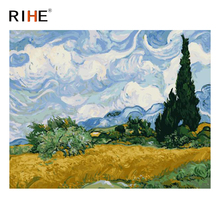 RIHE Wheat Field Diy Painting By Numbers Abstract Tree Sky Oil Painting On Canvas Cuadros Decoracion Acrylic Wall Art Picture rihe amused expression diy painting by numbers abstract cute cat oil painting on canvas cuadros decoracion acrylic wall art