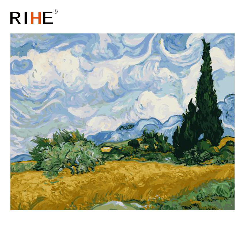 RIHE Wheat Field Diy Painting By Numbers Abstract Tree Sky Oil Painting On Canvas Cuadros Decoracion Acrylic Wall Art Picture