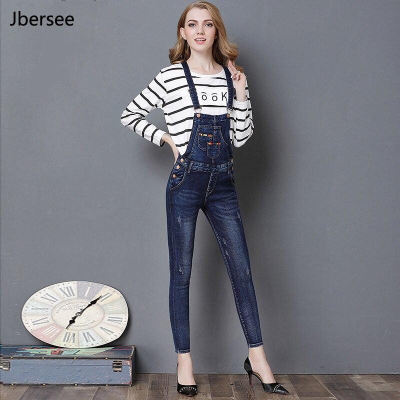 100% Kwaliteit Vrouw Jeans Hoge Taille Multi Pocket Overalls Donkerblauw Jumpsuit Enkellange Denim Broek Mode Vrouwelijke Casual Jeans Yz2117 Puur Wit En Doorschijnend