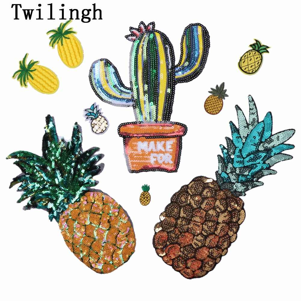 1 Pc Sequined Patches Fruit Pineapple Sticker Sew on Patch Shine Motif Applique Garment Patch Children Women DIY Clothes Wedding