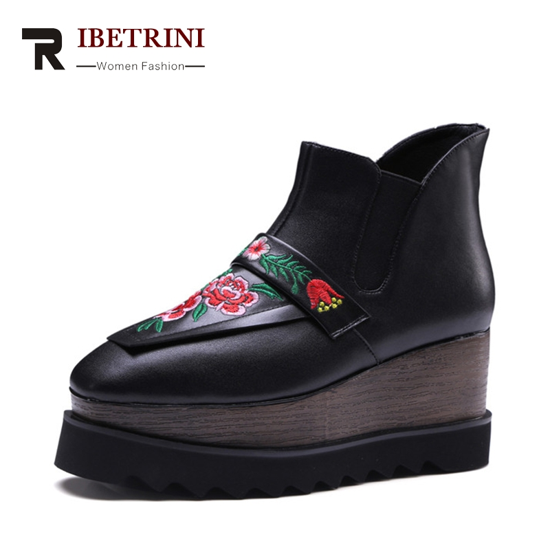 RIBETRINI Spring Autumn Embroider Cow Leather Large Size 33-42 Thick Platform Ankle Boots Woman Slip-On High Wedges Women Shoes