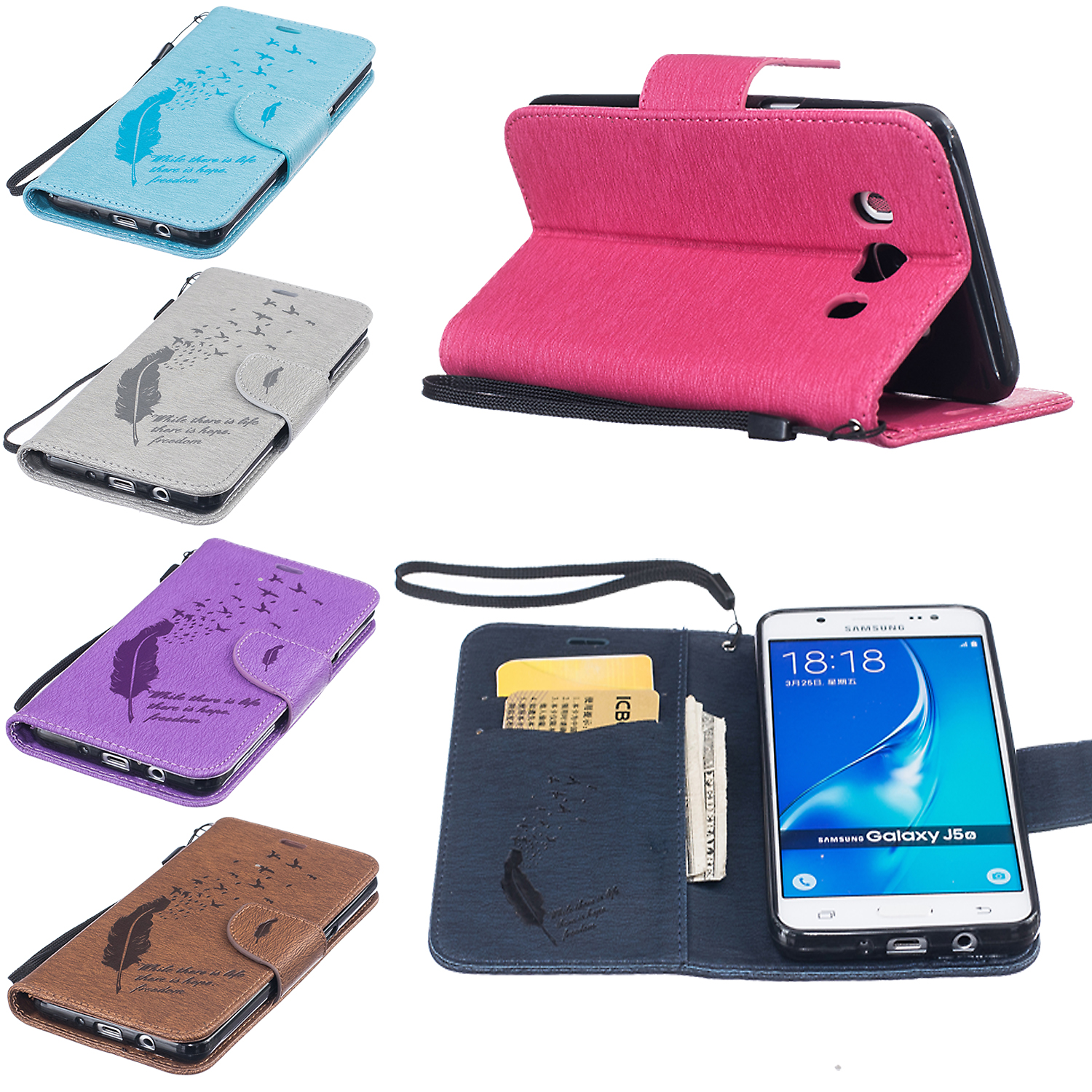 Pu leather case for samsung galaxy a7 2016 a710 peacock feather - Luxury Feather Leather Wallet Flip Stand Case For Samsung Galaxy A3 A5 J5 J3 2016 A310