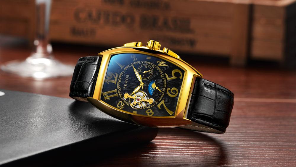 HTB1oqtEXyfrK1RjSspbq6A4pFXa6 SEWOR New Black Gold Tonneau Tourbillon Automatic Mechanical Watch Men Genuine Leather Strap Men Clock Male Men Wristwatches