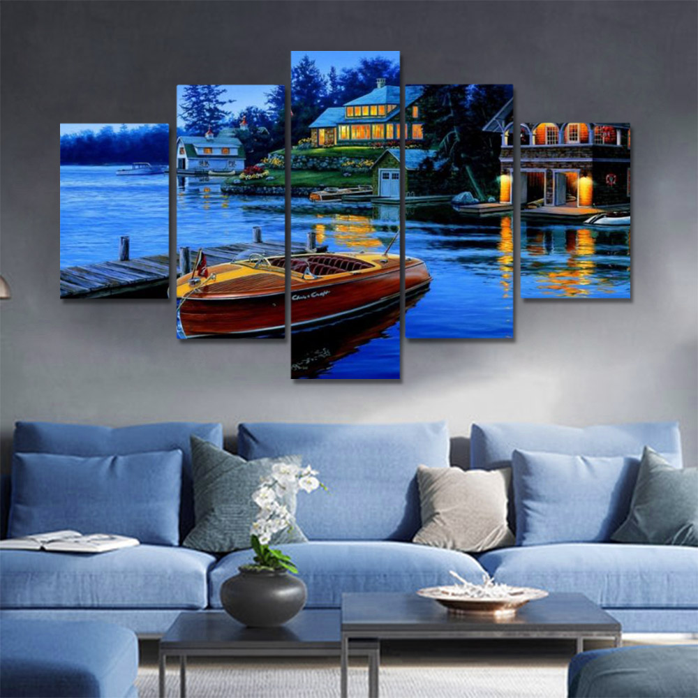 Unframed HD Canvas Prints Oil Painting Lake View Room Dusk Ferry Prints Wall Pictures For Living Room Wall Art Decoration