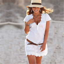 Summer arrival Women Mini Dress Casual Short Sleeve V Neck Solid Bodycon Party Evening Elegant Robe