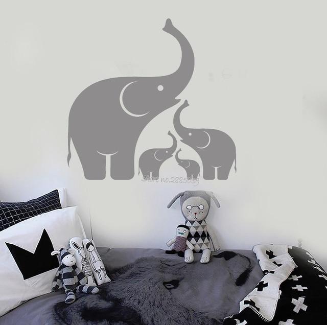 Dieren Stickers Muur.Olifant Familie Muurtattoo Babykamer Pvc Niet Giftig Materiaal Art