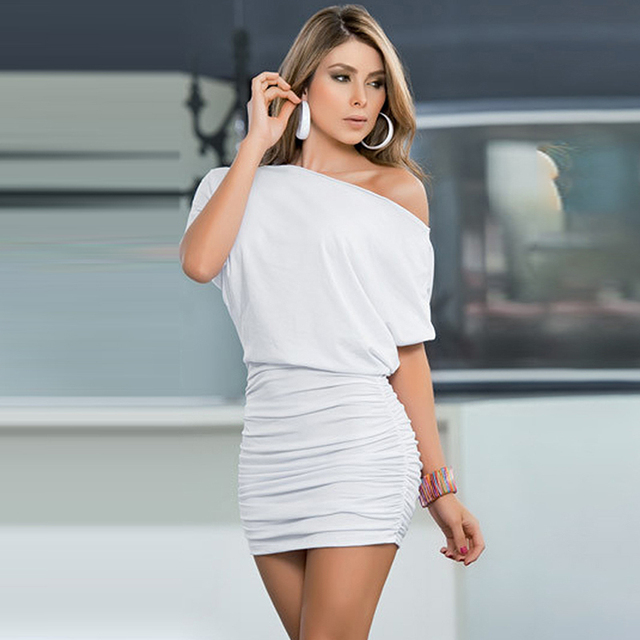 Women Summer Dress Fashion Sexy One Shoulder Half Sleeved Mini Bodycon